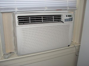 window-type AC installed in a room