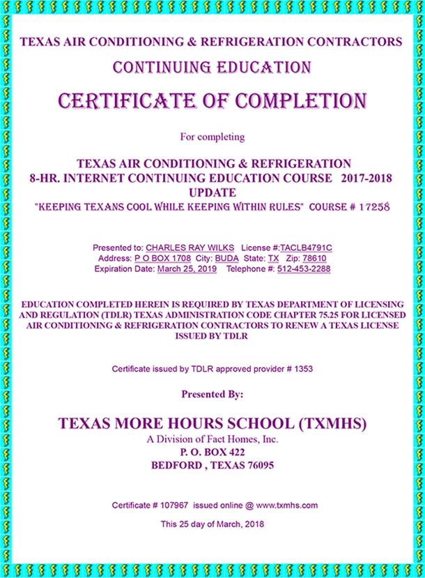 Certified Heating and Air Conditioning Repair Austin, Texas